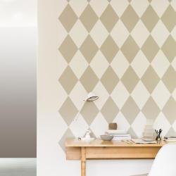 harlekinrutor vägg beige vitt