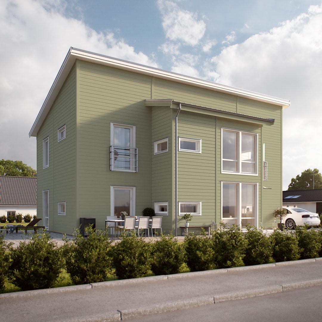 Moderne hus ved veien malt i grønnfarge wasabi