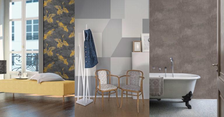 Bilde delt i tre med tre ulike rom som har tapet på veggen